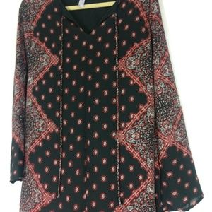 Ayla black and red lined long sleeve dress,  SZ XS